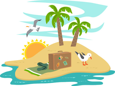 島の休暇 - カモメ、木々 や休暇漫画島アイテム Eps10  イラスト・ベクター素材