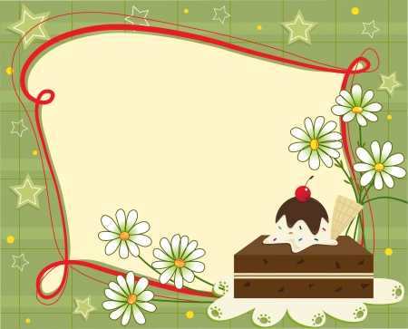 brownie: Celebration Note - A festive banner with a brownie and daisies