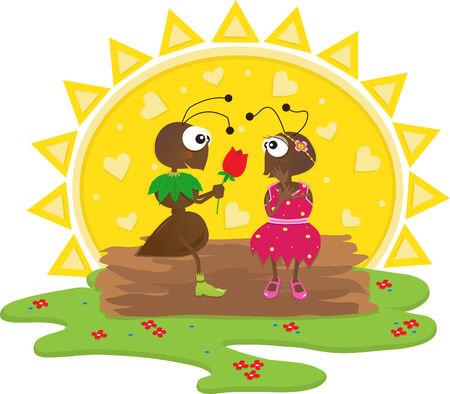 Romantic Ants - Cute cartoon ants in a romantic scene   Illusztráció