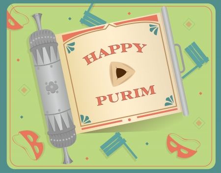 esther: Purim Scroll - An open scroll with Happy Purim text on it