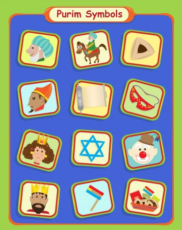 Purim Symbols - Cute Purim holiday symbols
