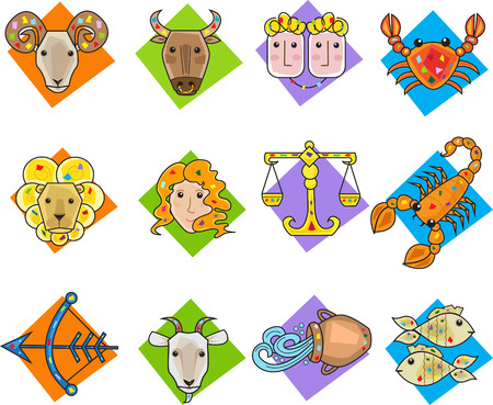 Zodiac Signs - Set of twelve colorful zodiac signs