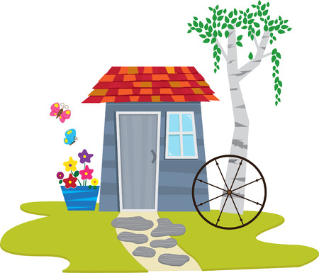 shed: Shed With Butterflies - A cute garden shed with flowers and butterflies