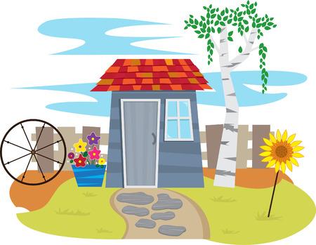 フェンス - かわいい庭奥の塀を持つ小屋と小屋します。  イラスト・ベクター素材