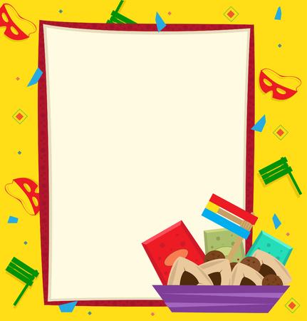 Purim Note - Purim banner met een kleurrijke Stockfoto - 24924739