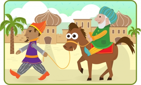 Purim Story - Mordechai rides a horse lead by Haman   Illustration