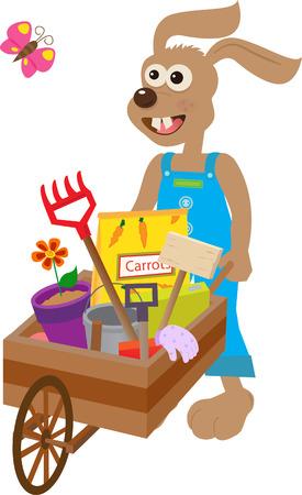 Bunny With Wheelbarrow - Cute bunny carry a wheelbarrow with garden supplies   Illustration