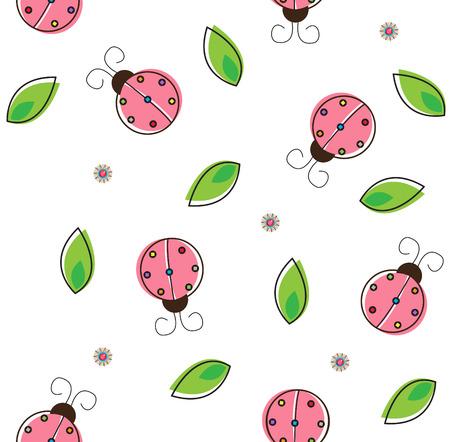 ladybug pattern - colorful pattern of ladybug and leaves