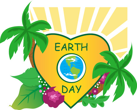 Earth Day - Earth icon inside a heart shape, and nature around it  Eps10
