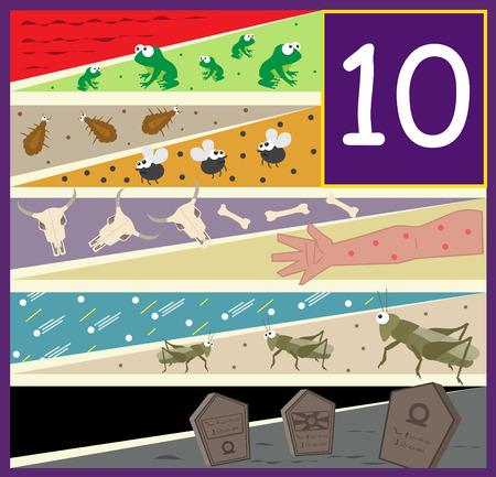The Ten Plagues - An illustration of the ten plagues of Egypt   Stock Illustratie