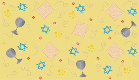 passover: Yellow Passover - Repetitive pattern of Passover symbols