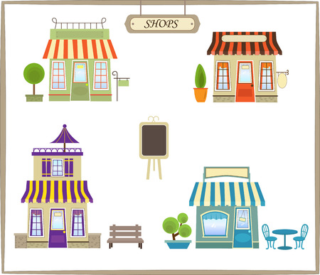 Cute Shops - Cute set of four colorful shops   Vector