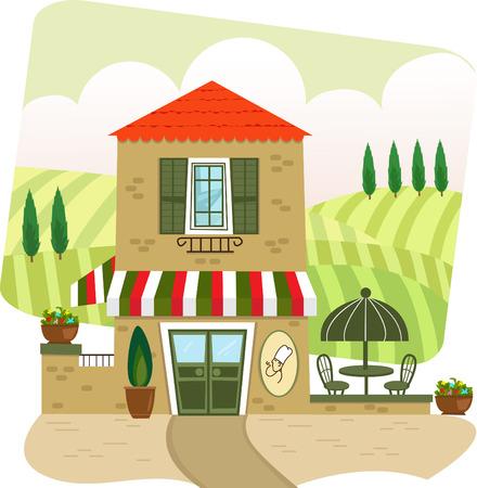 outdoor dining: Italian Restaurant - Cartoon illustration of an Italian restaurant and landscape in the background