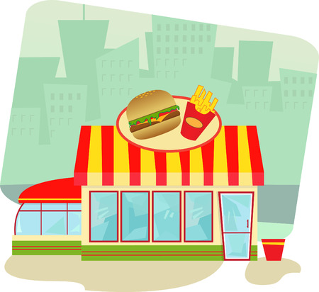 food: Fast Food Restaurant - Cartoon illustration of a fast food restaurant and cityscape in the background
