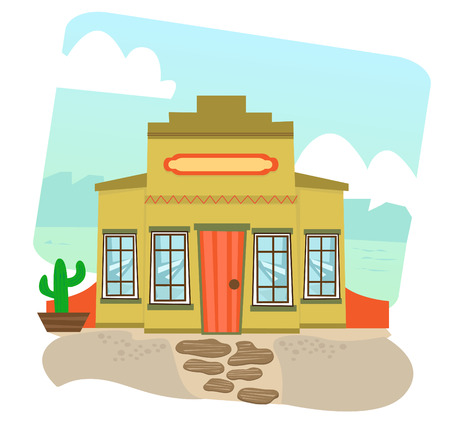 food industry: Mexican Restaurant - Cartoon illustration of a Mexican restaurant and landscape in the background    Illustration