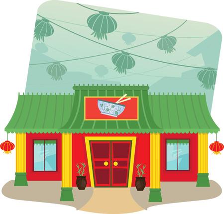 Chinese Restaurant - Cartoon illustratie van Chinees restaurant en lantaarns op de achtergrond Stock Illustratie