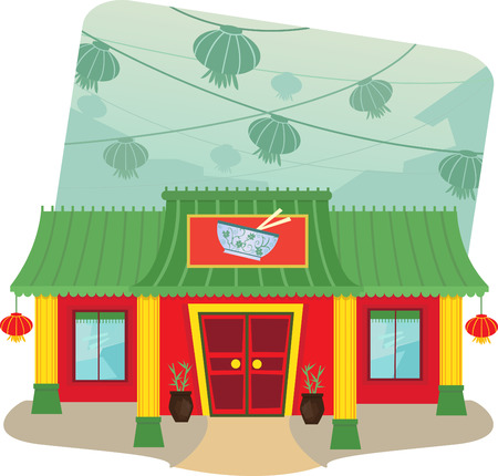 Chinese Restaurant - Cartoon illustration of chinese restaurant and lanterns in the background    Иллюстрация