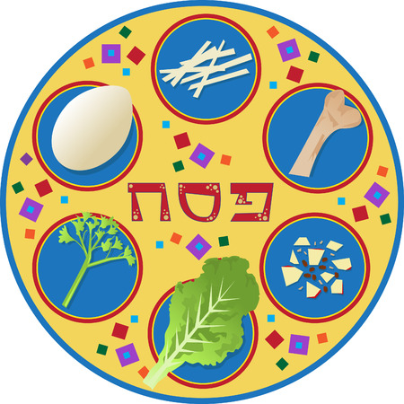 Passover Plate - Passover plate and its symbols, with the word passover written in Hebrew in the center   Vector