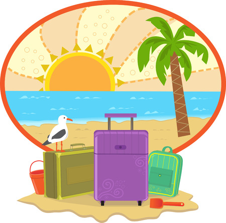 Cute vacation icon  일러스트
