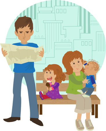 tourist guide: Family Vacation - Cute family on vacation with a stylized cityscape in the background