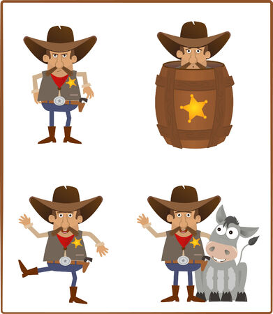 deputy: Sheriff - Cute set of a cartoon sheriff  Illustration