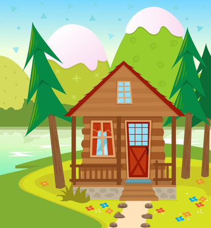 Cabin - A Cabin in the woods with a lake and snow capped mountains in the background   Vector