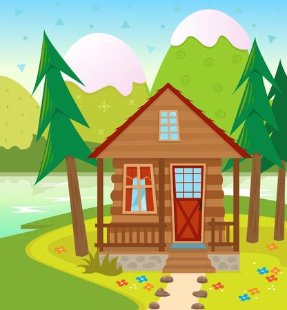 foret sapin: Cabine - une cabane dans les bois avec un lac et des montagnes enneig�es en arri�re-plan Illustration