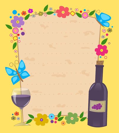 flowered: Passover Invitation - Flowered frame with Matzo texture in the center and a bottle and wine glass in the bottom corner  Eps10