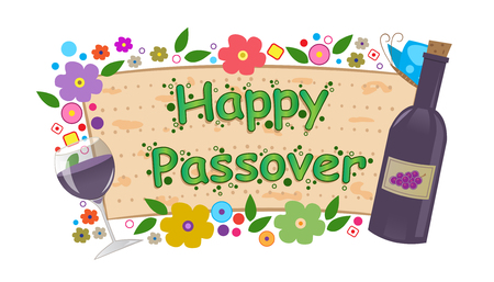 Wine and Flowers Passover Banner  - Happy Passover banner with flowers, bottle and wine glass  Eps10 Vector