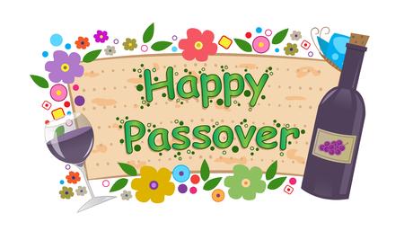 matzo: Wine and Flowers Passover Banner  - Happy Passover banner with flowers, bottle and wine glass  Eps10