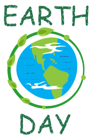 Earth Day Icon - Earth icon and the word earth day in green  Eps10 Reklamní fotografie - 27004173