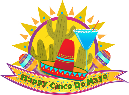 maracas: Cinco De Mayo Banner - Happy Cinco De Mayo banner with sombrero, maracas and margarita  Eps10 Illustration
