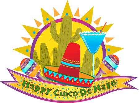 Cinco De Mayo Banner - Happy Cinco De Mayo banner with sombrero, maracas and margarita  Eps10 Illustration