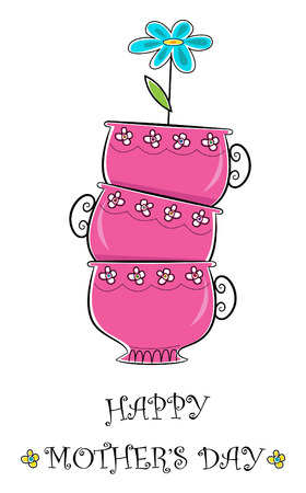 Mother s Day - Cute happy mother s day greeting of pink tea cups and a blue flower  Eps10 Vector