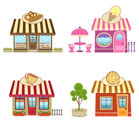 Shops - Cute bakery, coffee, pizza and ice cream shops  Eps10 Vector