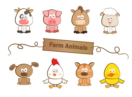 농장 동물 - 여덟 농장 동물의 귀여운 세트 일러스트