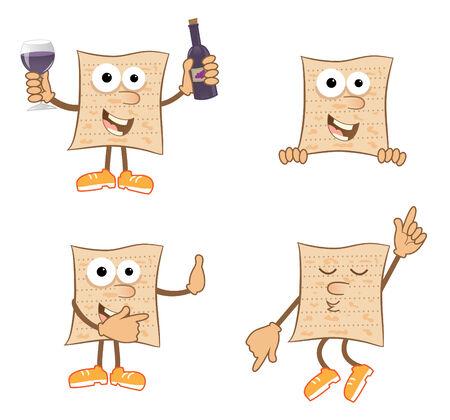 Mr Matzah - Cute set of 4 cartoon matzah  Illustration