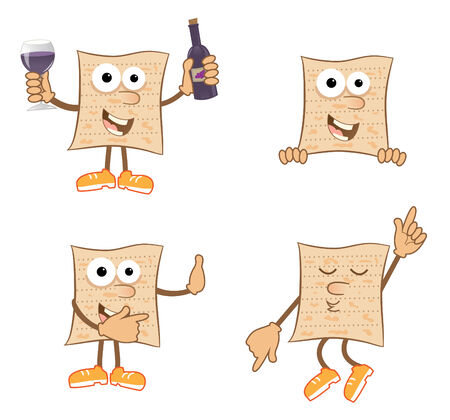 Mr Matzah - Cute set of 4 cartoon matzah  矢量图像