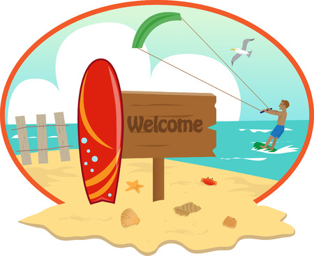 kite surfing: beach - Beach icon with welcome sign and surfboard in the front and a man kite surfing in the background