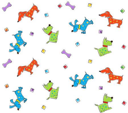 Colorful Dogs Pattern - Colorful pattern of stylized dogs