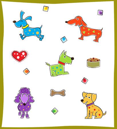 Colorful Dogs  - Set of five colorful dogs   Ilustração