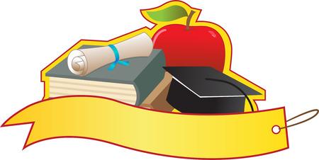 毕业横幅-带书,毕业证书,毕业帽和苹果的空白横幅