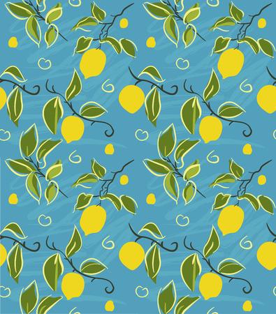 Lemon Pattern - Stylized lemon branch and leaves pattern  Eps10