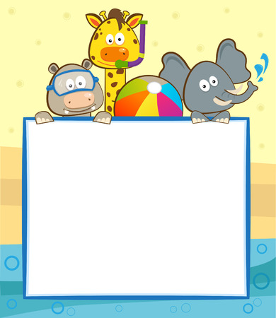 hipopotamo dibujos animados: Animal piscina Banner - animales lindos con snorkel, gafas y una pelota de playa, con un cartel en blanco