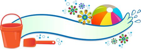 Splash Banner - Blank banner with beach ball, flowers, bucket and spade   Vector
