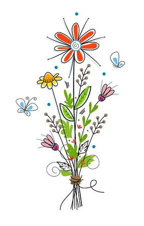 bouquet fleur: Fleurs - Fleur mignonne bouquet et papillons