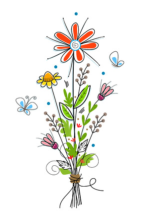 flower bouquet: Flowers - Cute flower bouquet and butterflies