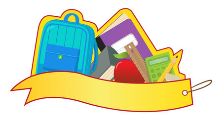 back to school supplies: Back to School Banner - Blank banner with backpack and school supplies  Eps10
