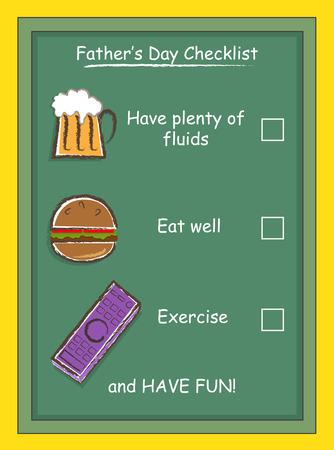 checklist: Father s Day Checklist - Father s day funny greeting card  Eps10