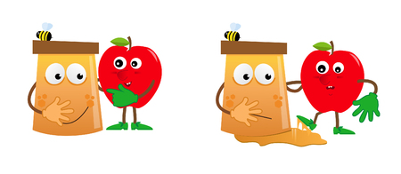 jewish symbols: Apple and Honey - Cartoon honey and apple in a funny situation